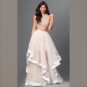 Beautiful white and cream two piece prom dress